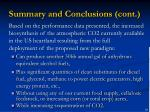 summary and conclusions cont