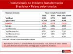 produtividade na ind stria transforma o brasileira x pa ses selecionados