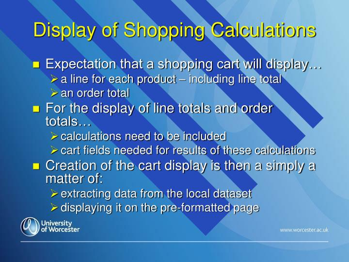Display of Shopping Calculations
