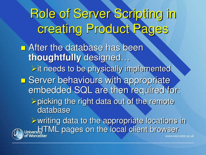 Role of Server Scripting in creating Product Pages