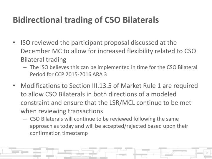 Bidirectional trading of cso bilaterals