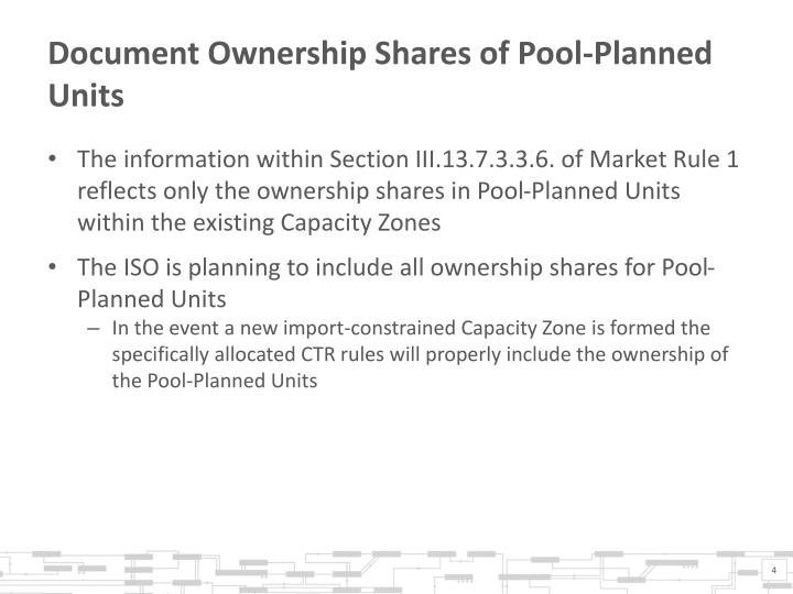 Document Ownership Shares of Pool-Planned Units