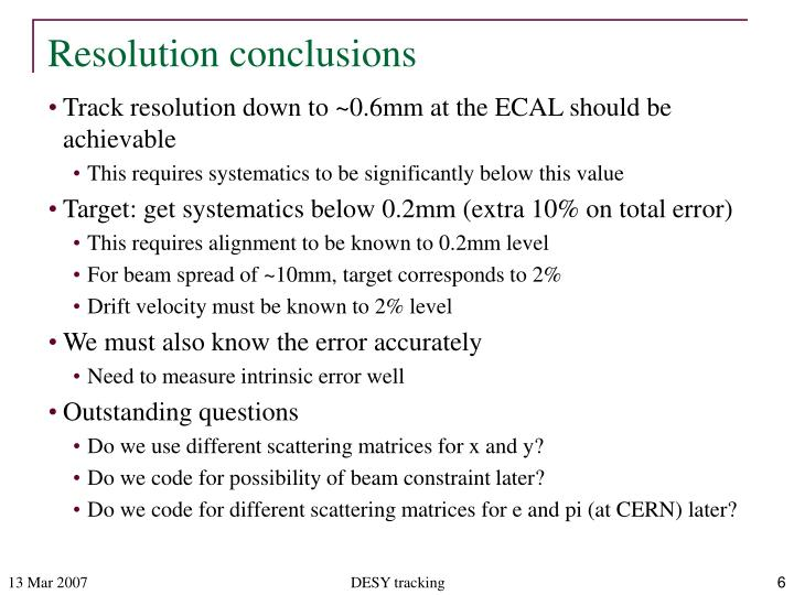 Resolution conclusions