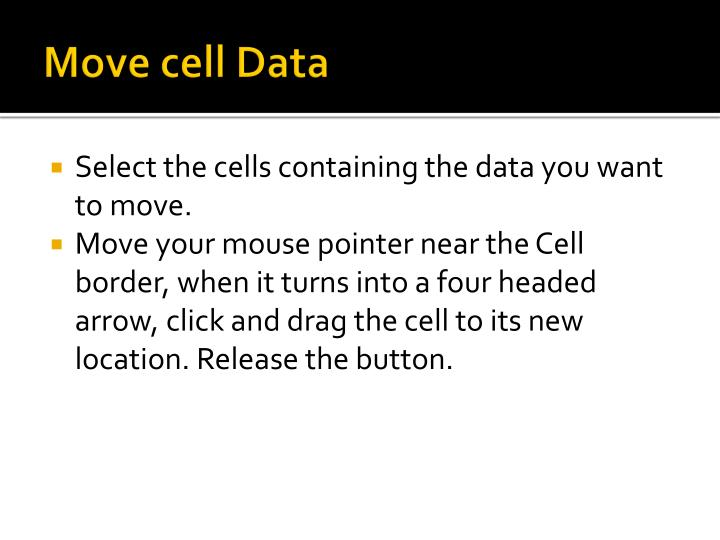 Move cell Data