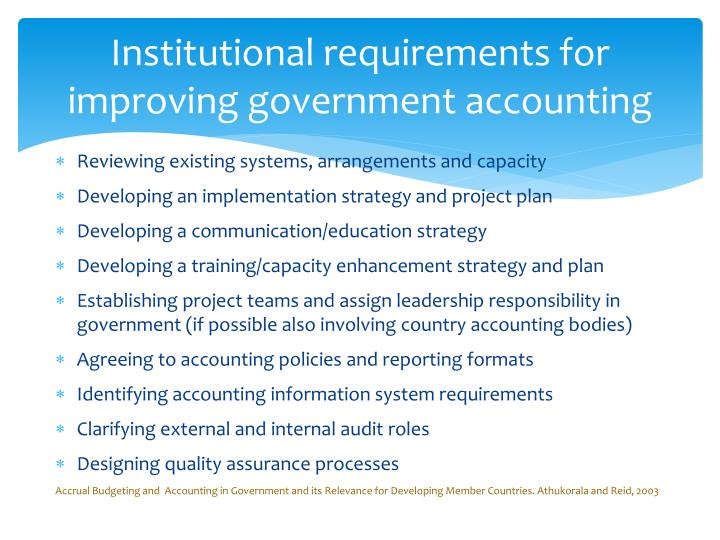 Institutional requirements for improving government accounting