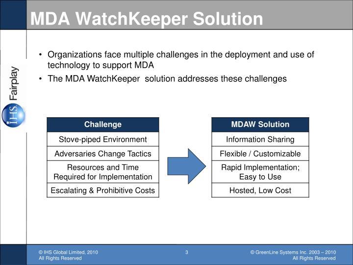 Mda watchkeeper solution