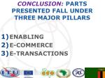 conclusion parts presented fall under three major pillars