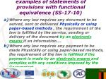examples of statements of provisions with functional equivalence ss 17 10