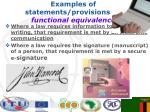 examples of statements provisions on functional equivalence