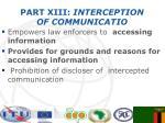 part xiii interception of communicatio