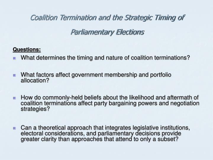 Coalition Termination and the Strategic Timing of Parliamentary Elections