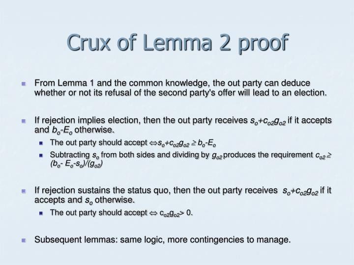 Crux of Lemma 2 proof