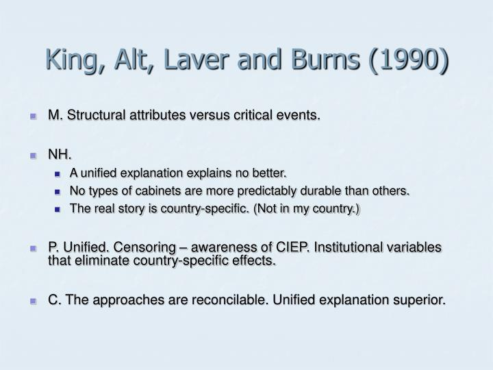 King, Alt, Laver and Burns (1990)