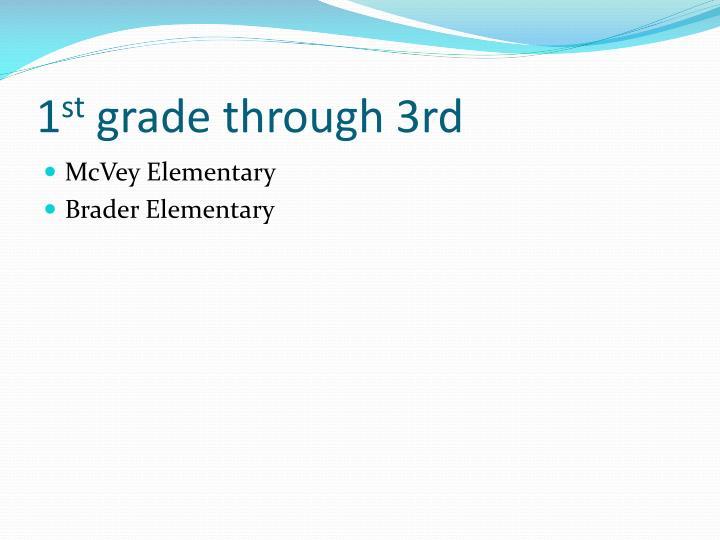 1 st grade through 3rd