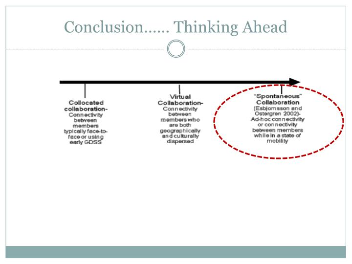 Conclusion…… Thinking Ahead