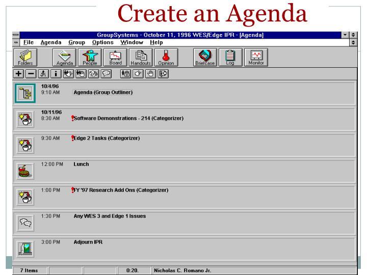Create an Agenda