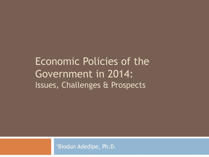 Economic policies of the government in 2014 issues challenges prospects