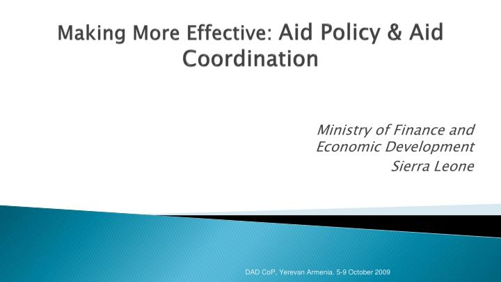 making more effective aid policy aid coordination n.