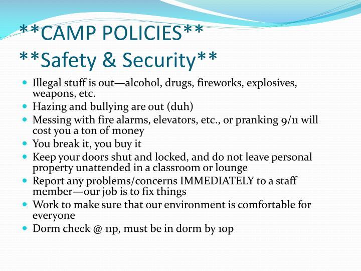 **CAMP POLICIES**