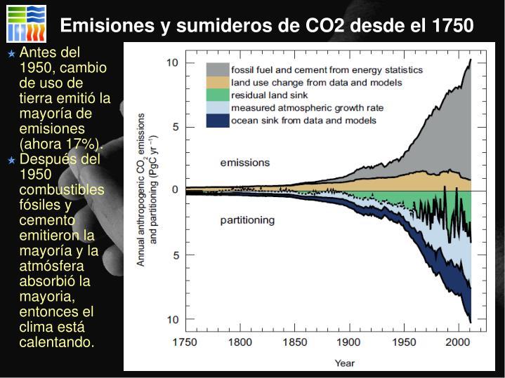 Emisiones y sumideros de CO2 desde el 1750