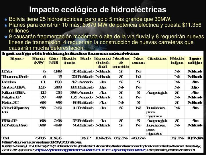 Bolivia tiene 25 hidroeléctricas, pero solo 5 más grande que 30MW.