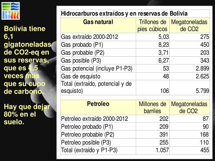 Bolivia tiene 6,1 gigatoneladas de CO2-eq en sus reservas, que es 4,5 veces más que su cupo de carbono.