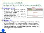 experimental case study intelligence network fault management infm