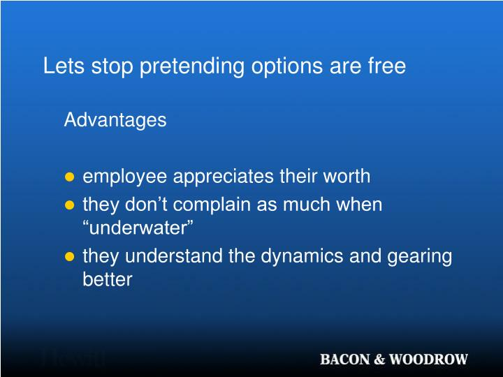 Lets stop pretending options are free