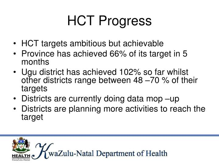 HCT Progress