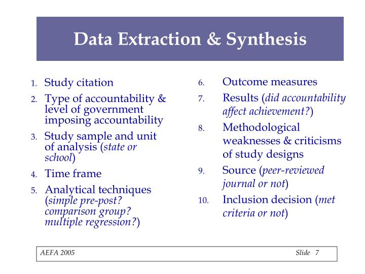 Data Extraction & Synthesis