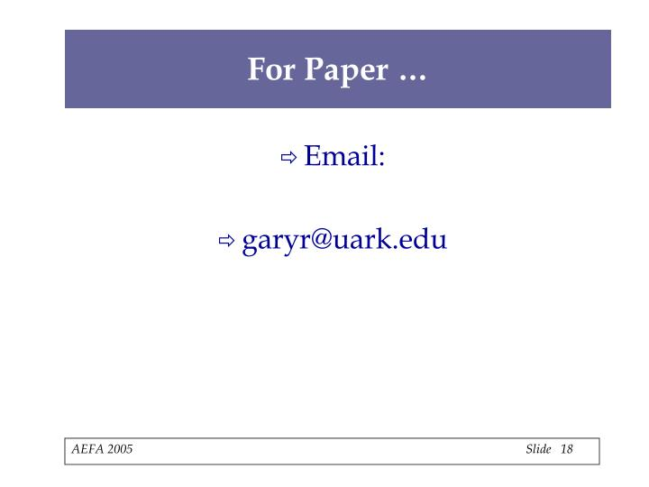 For Paper …