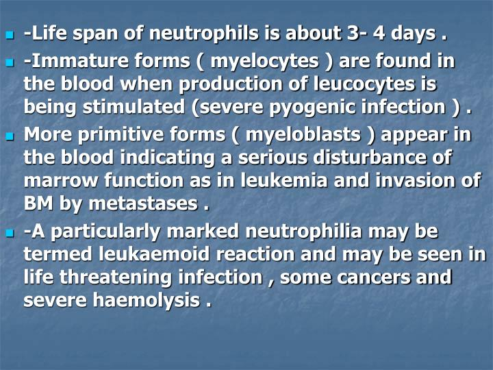 -Life span of neutrophils is about 3- 4 days .