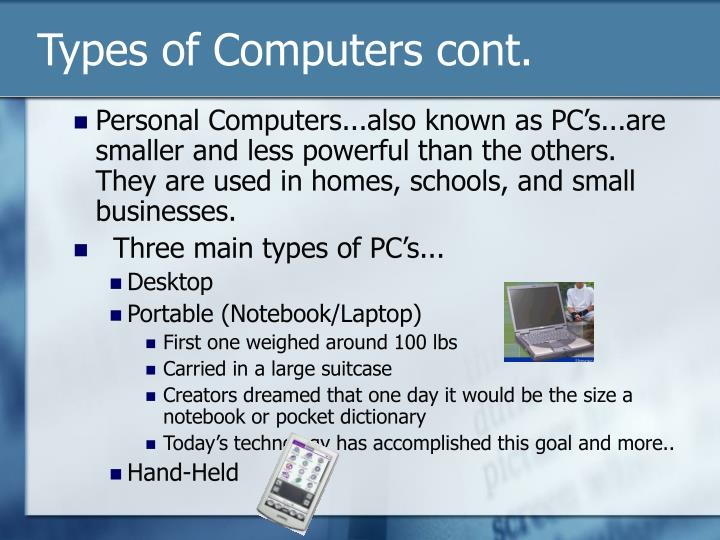 Types of computers cont