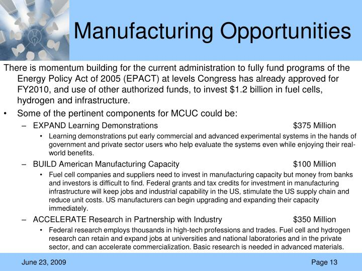 Manufacturing Opportunities