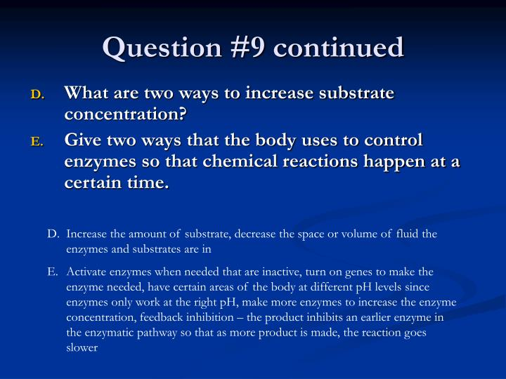 Question #9 continued