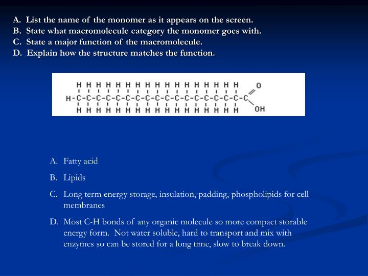 A.  List the name of the monomer as it appears on the screen.