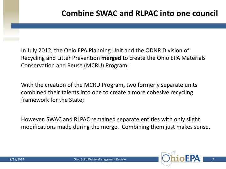 Combine SWAC and RLPAC into one council