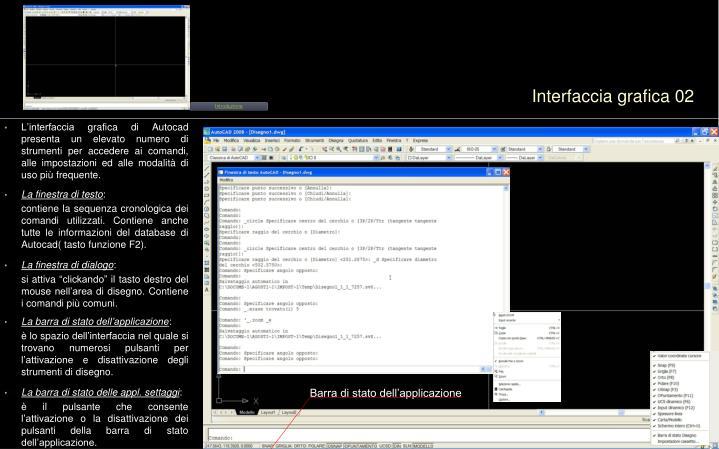 L'interfaccia grafica di Autocad presenta un elevato numero di strumenti per accedere ai comandi, alle impostazioni ed alle modalità di uso più frequente.