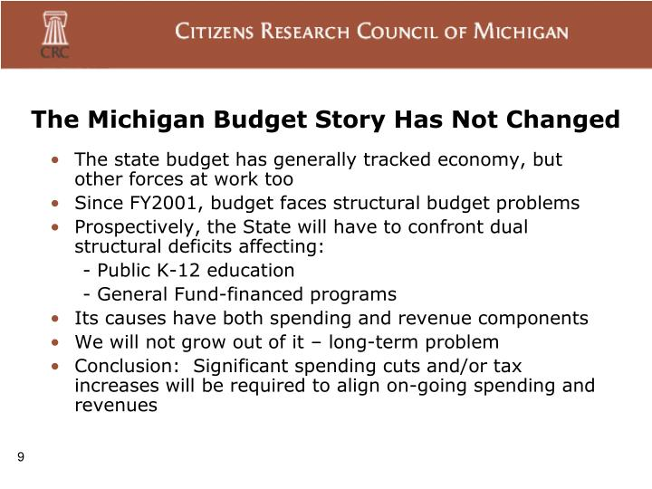 The Michigan Budget Story Has Not Changed
