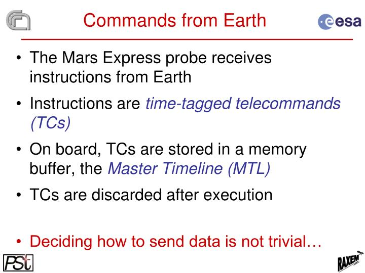 Commands from Earth