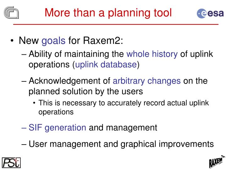 More than a planning tool