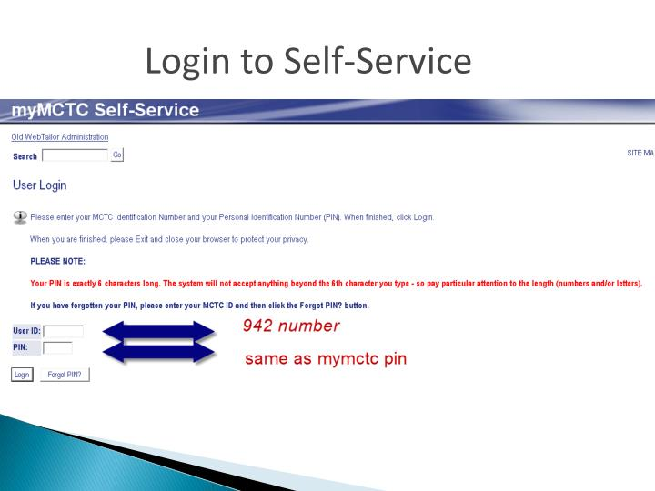 Login to Self-Service
