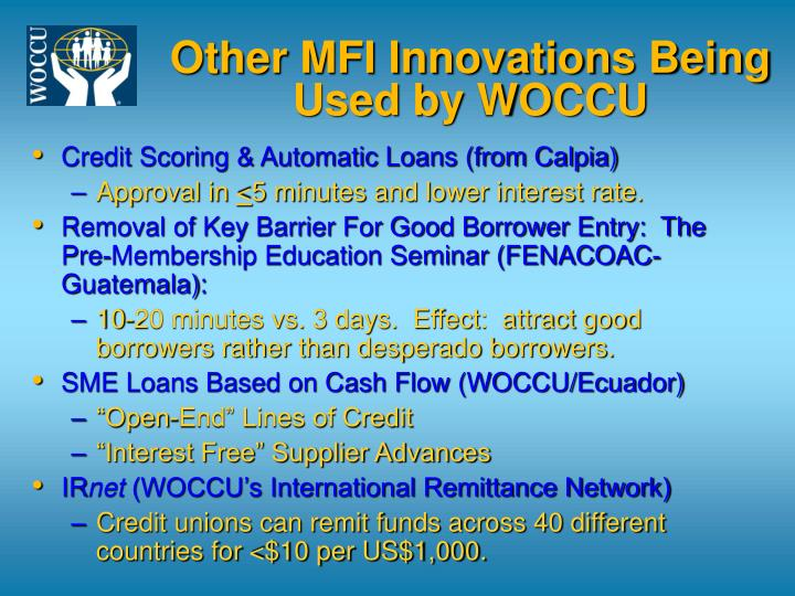 Other MFI Innovations Being Used by WOCCU