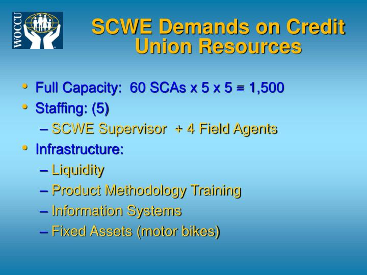 SCWE Demands on Credit Union Resources