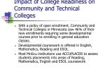 impact of college readiness on community and technical colleges