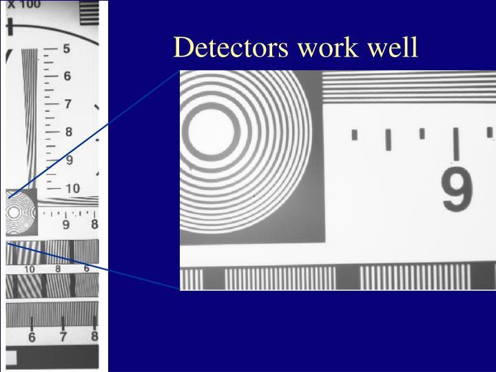 Detectors work well