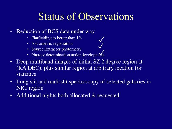 Status of Observations