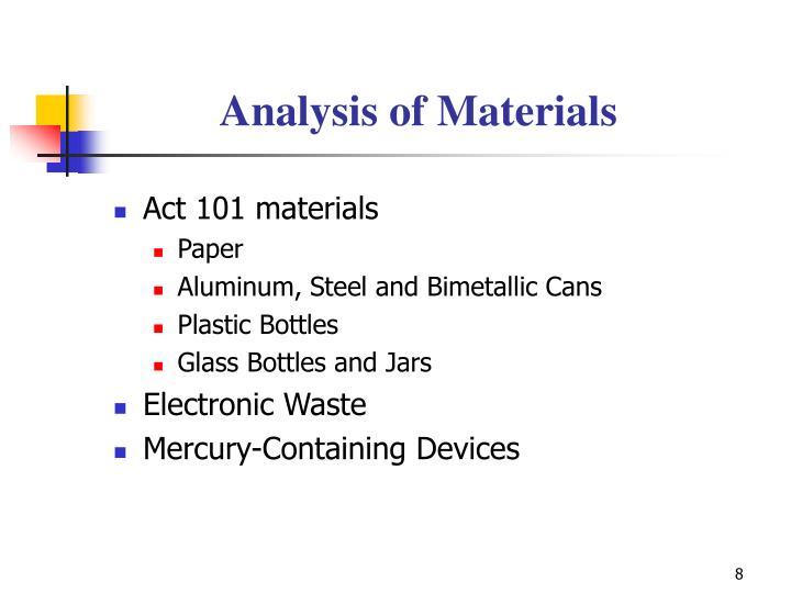 Analysis of Materials