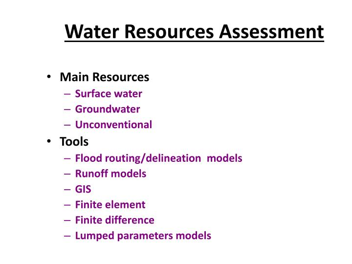 Water resources assessment