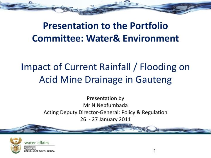 presentation to the portfolio committee water environment n.